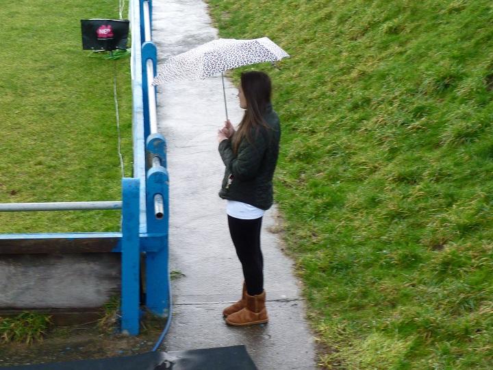 Lucy, enjoying the rain