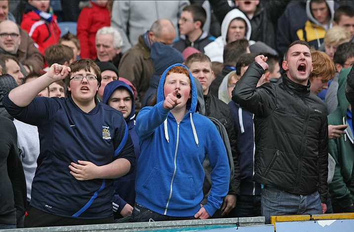 Me, Adam and Alex behind some unhappy County fans! (Courtesy of Carol White-Griffiths)