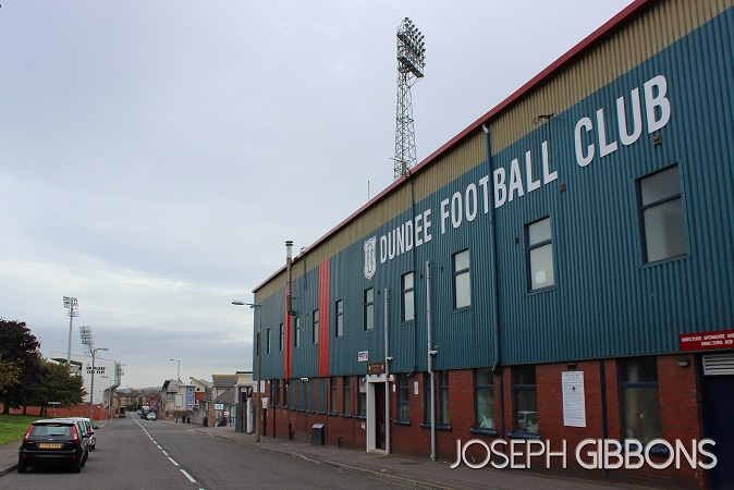 Tannadice on the left, Dens Park on the right