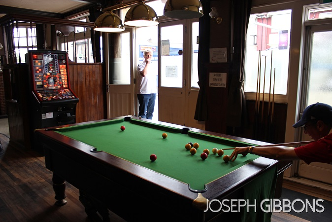 Playing pool in the Edinburgh Castle