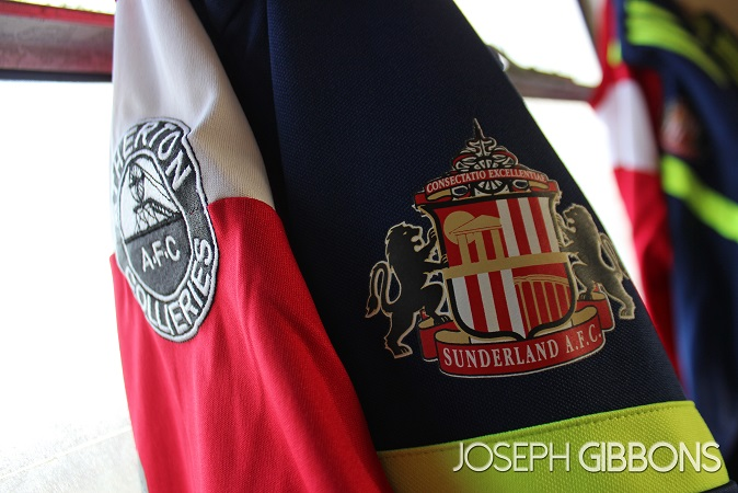 Atherton Collieries and Sunderland warm up tops