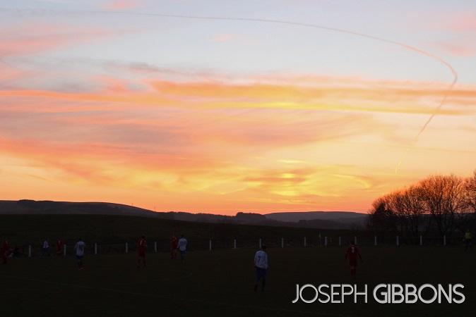 Sun setting over Winter Hill
