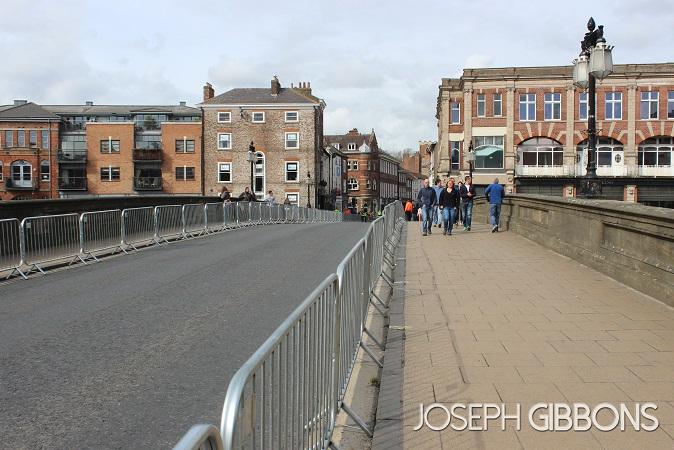 Ouse Bridge, ready for the Tour de Yorkshire