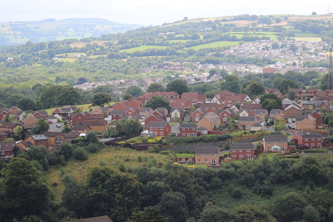 The view from Twyngarreg hill at the top of Treharris