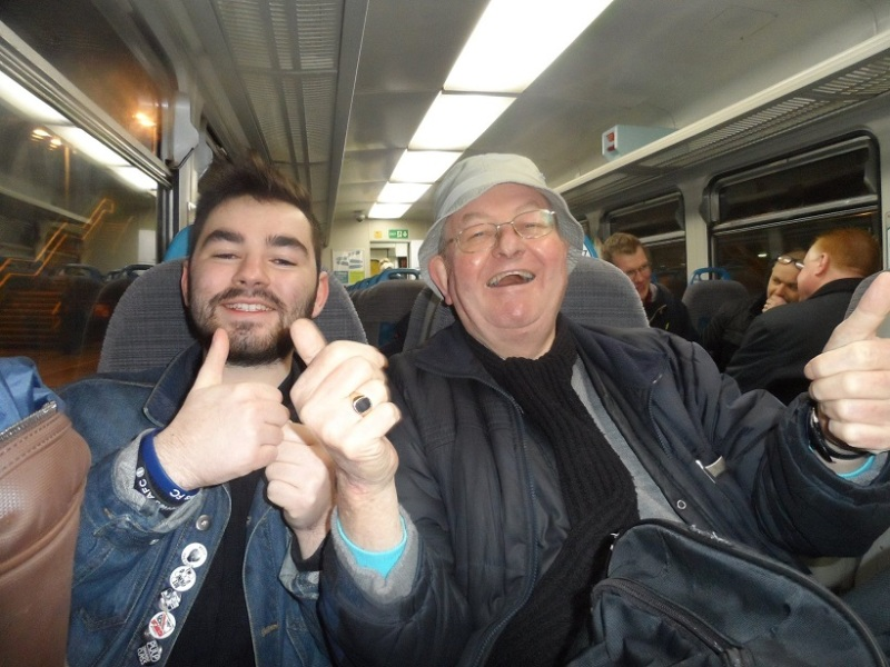 Me and groundhopper Frank on the train back to Crewe