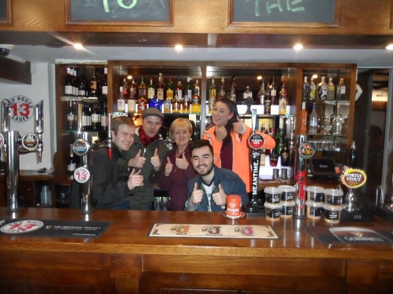 Behind the bar at The Wheatsheaf. George, Matt, Elaine, Steph and I